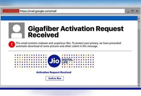 Jio Fiber subscription- Activation email asking for bank account details is a scam